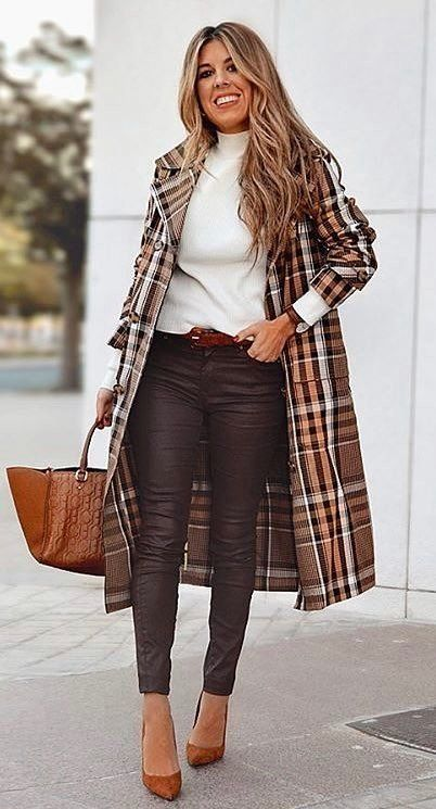 brown and white plaid coat