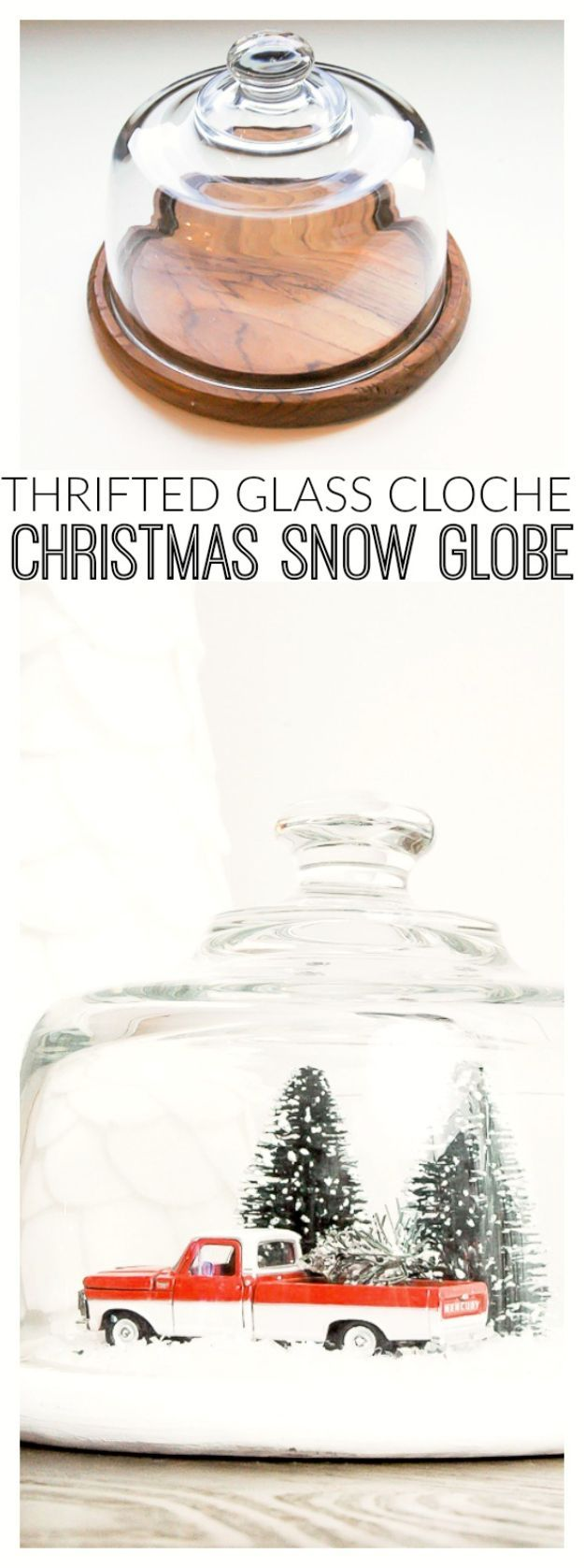 DIY Snow Globe Ideas – Thrifted Glass Cloche Turned Vintage Snow Globe – Easy Ideas To Make Snow Globes With Kids – Mason Jar, Picture, Ornament, Waterless Christmas Crafts – Cheap DYI Holiday Gift Ideas