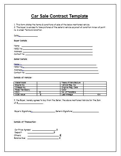Car Sales Contract Sample Used Car Sale Contract 5 Examples In - auto sales contract template