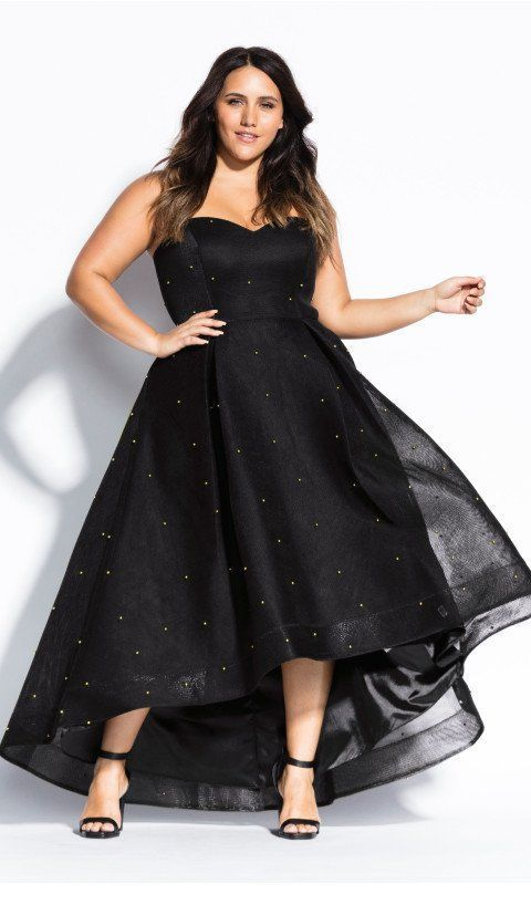 A very nice black dress with some polka dots