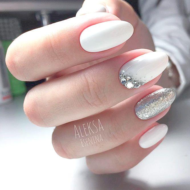 Top 65 Pretty White Nails With Glitter Shapes trendy designs – Fashonails #nail_art_designs #trendy_nails #white_nails #glitter_nails