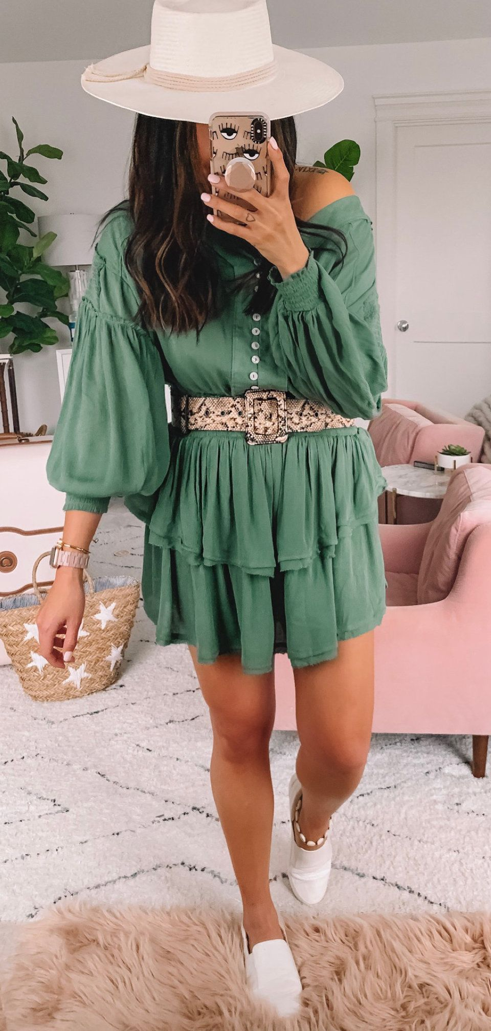 green long-sleeved dress and gray wide brim fedora hat #spring #outfits