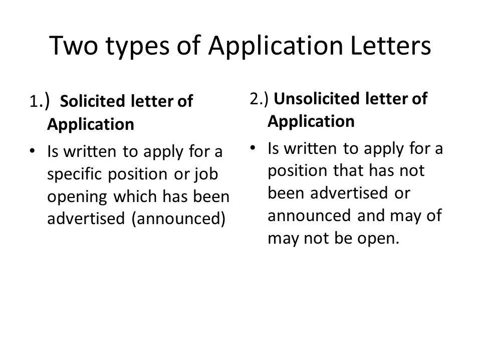Solicited And Unsolicited Application Letter Meaning | Cover Letter