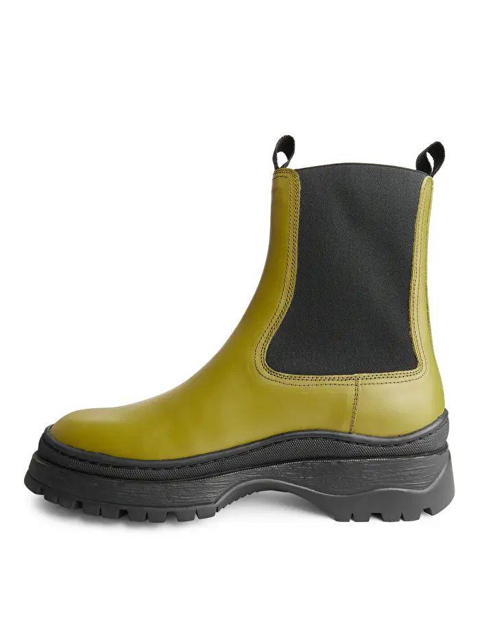 Chunky-Sole Leather Boots - Khaki Green - Shoes - ARKET DE
