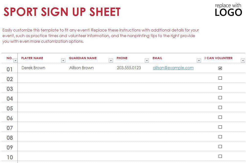 Team Sign Up Sheet Template Sign Up Sheets Potluck Sign Up Sheet - excel sign in sheet template