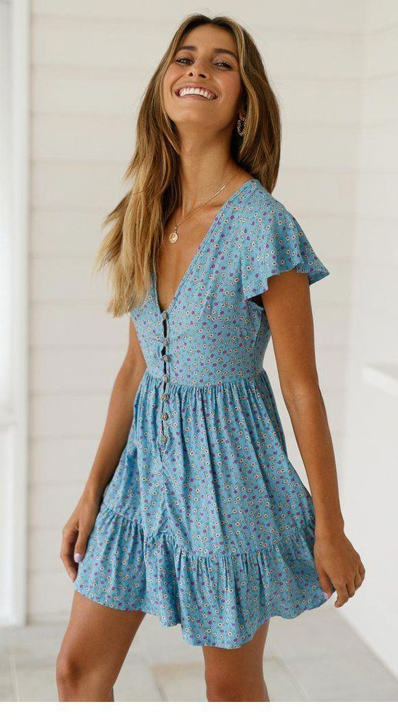 Sweet blue boho chic dress