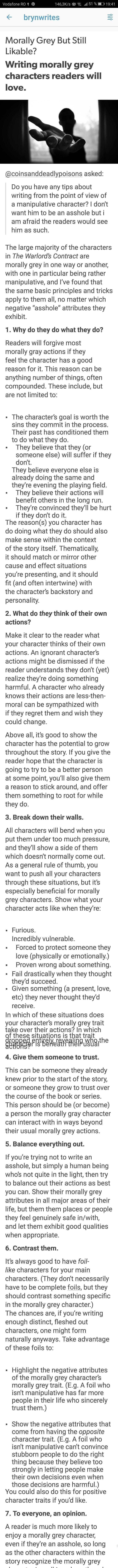 Writing morally gray characters