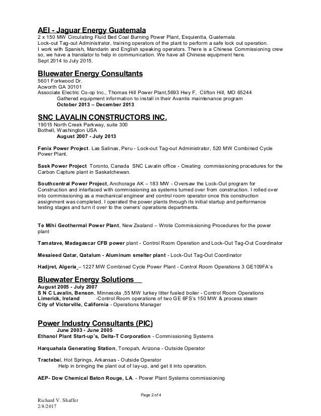 chemical plant operator resume