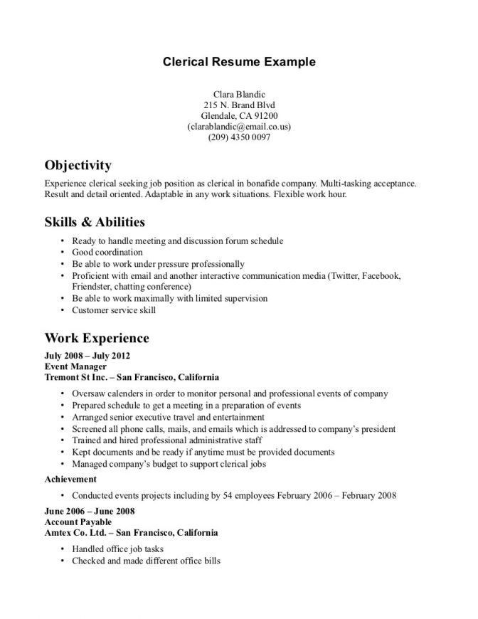 Resume Objective Clerical Sample Resume Clerical Resume Cv Cover - clerical resume examples