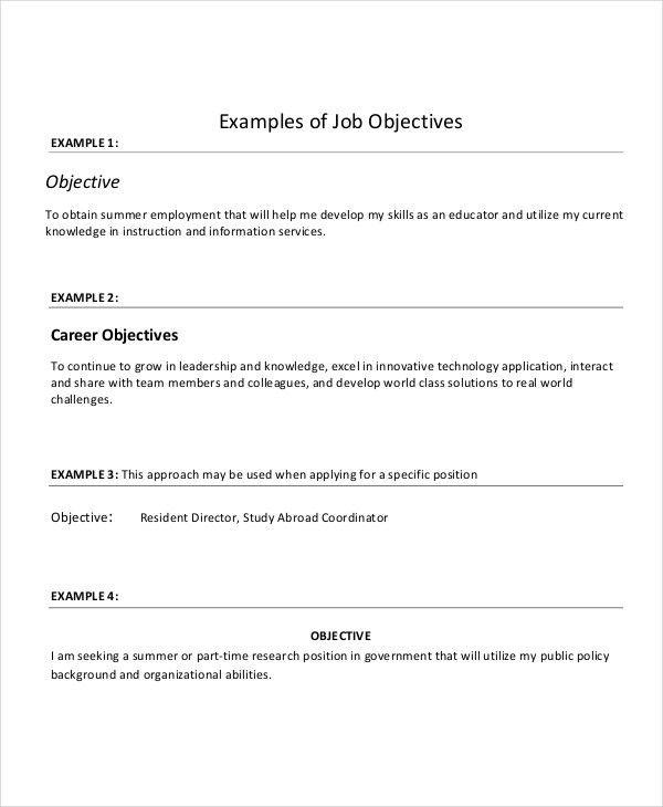 Resume Objective For Any Job Good Job Objectives For Resumes - resume examples for any job