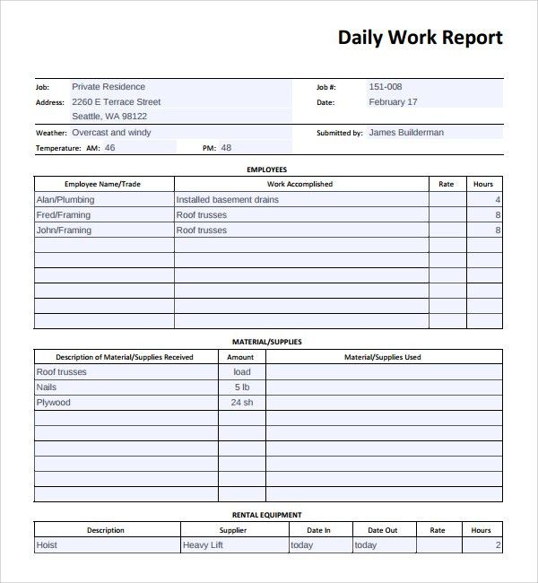 ... Daily Work Report Format Sample Daily Work Report Template 16   Daily  Report Templates ...