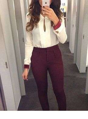 Cute white and burgundy office look