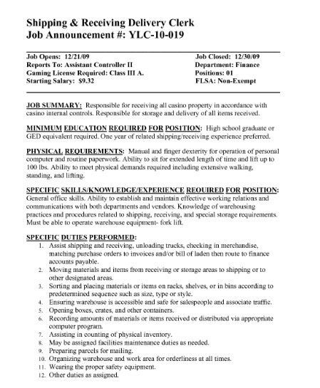 Shipping And Receiving Resume Examples Download