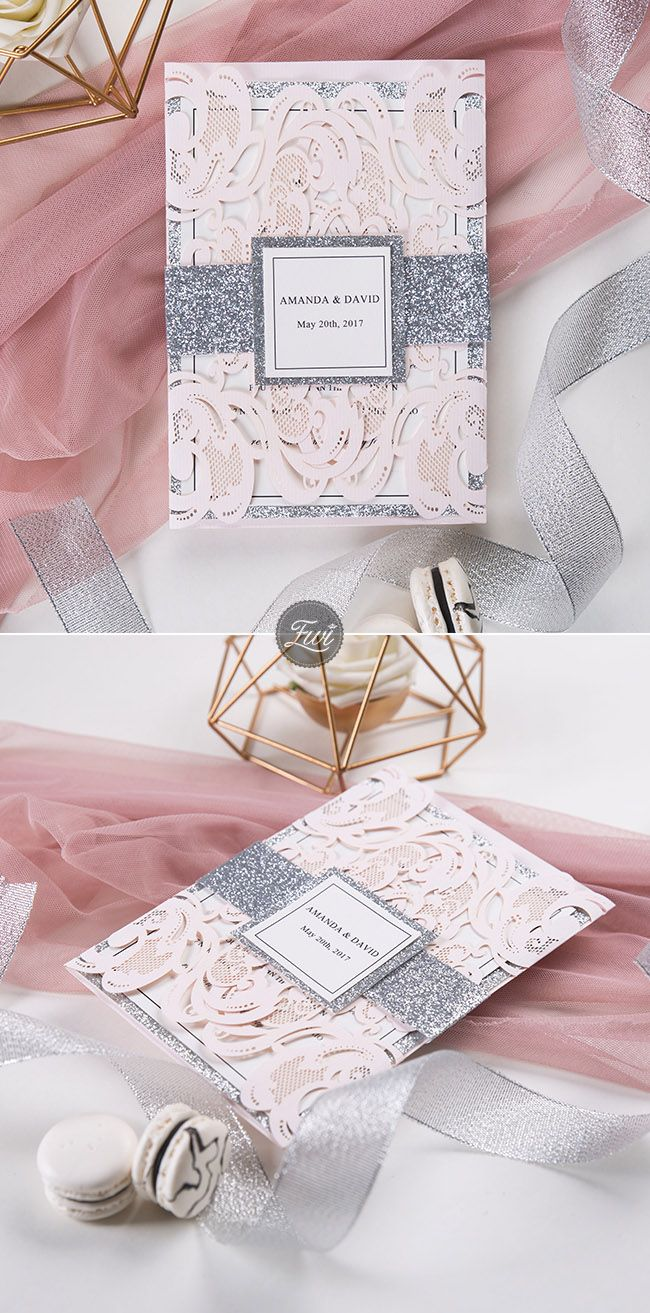 blush and silver glittery laser cut wedding invitation from EWI top sales