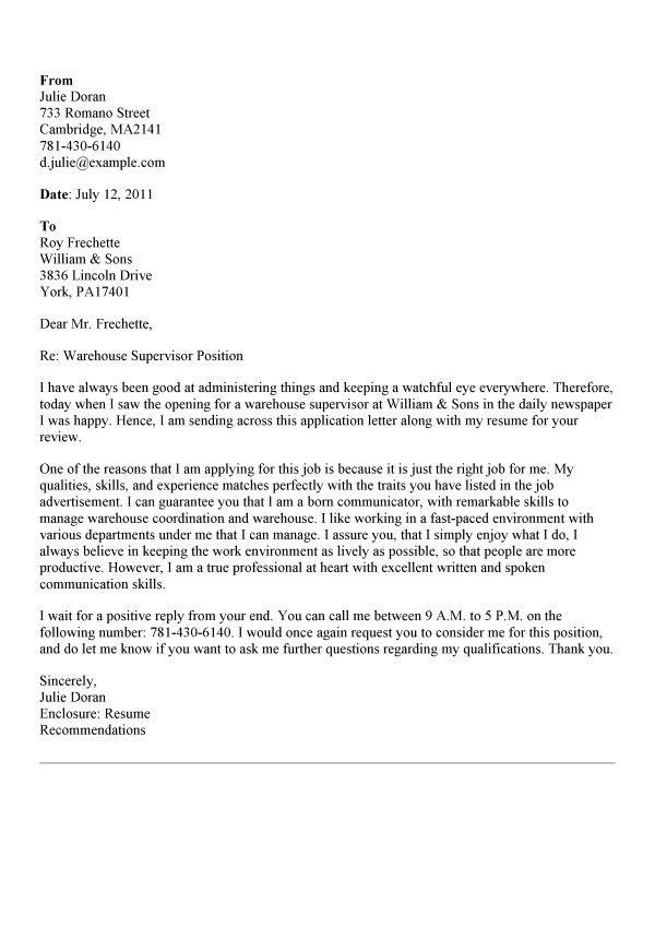 ... Warehouse Cover Letter Warehouse Operative Cover Letter Example   Mill Worker  Cover Letter ...