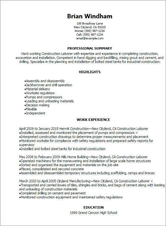 Resume Examples For Laborer - Examples of Resumes