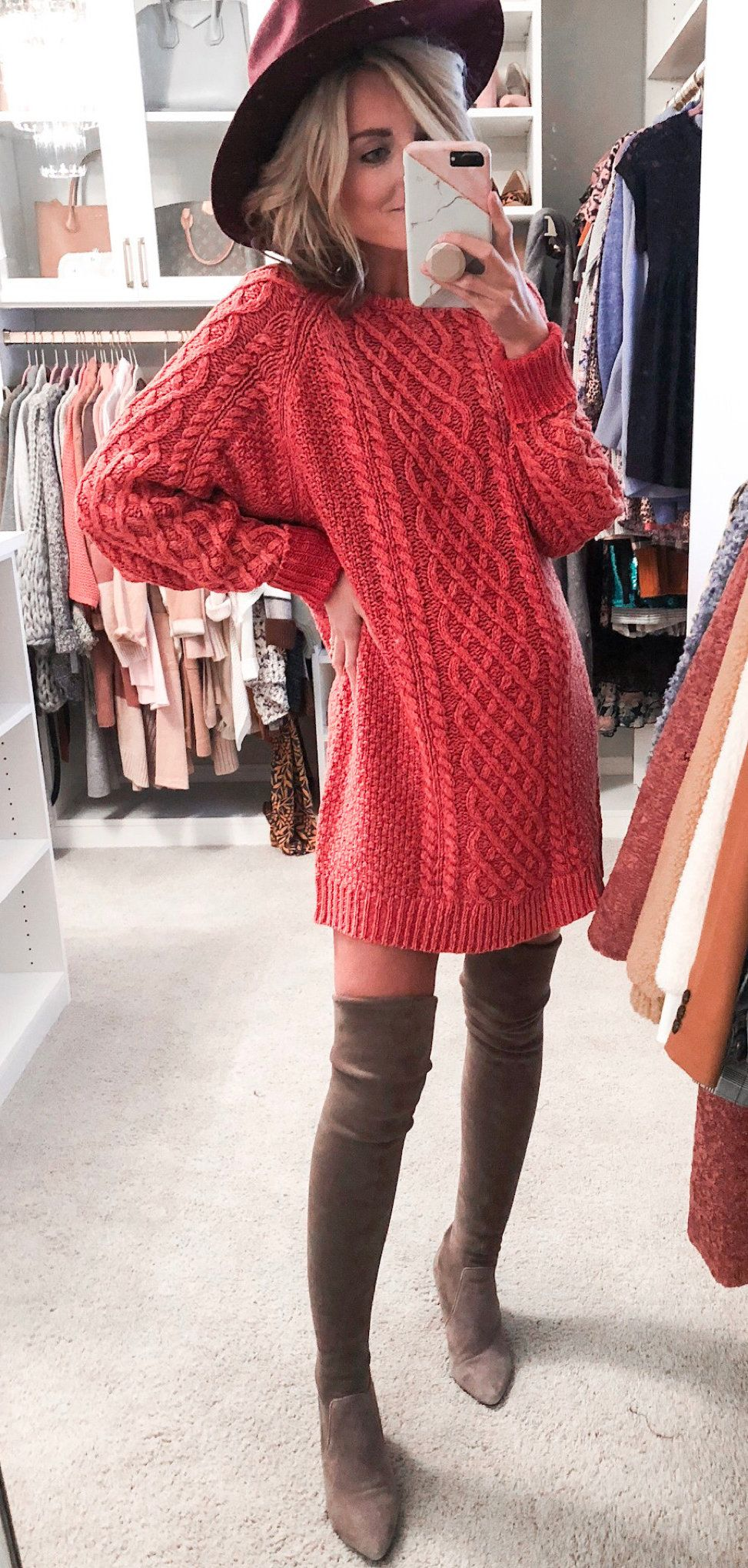 red cable knitted sweatshirt dress
