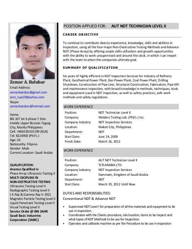 ndt resume format