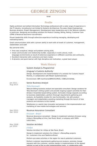 senior programmer resume
