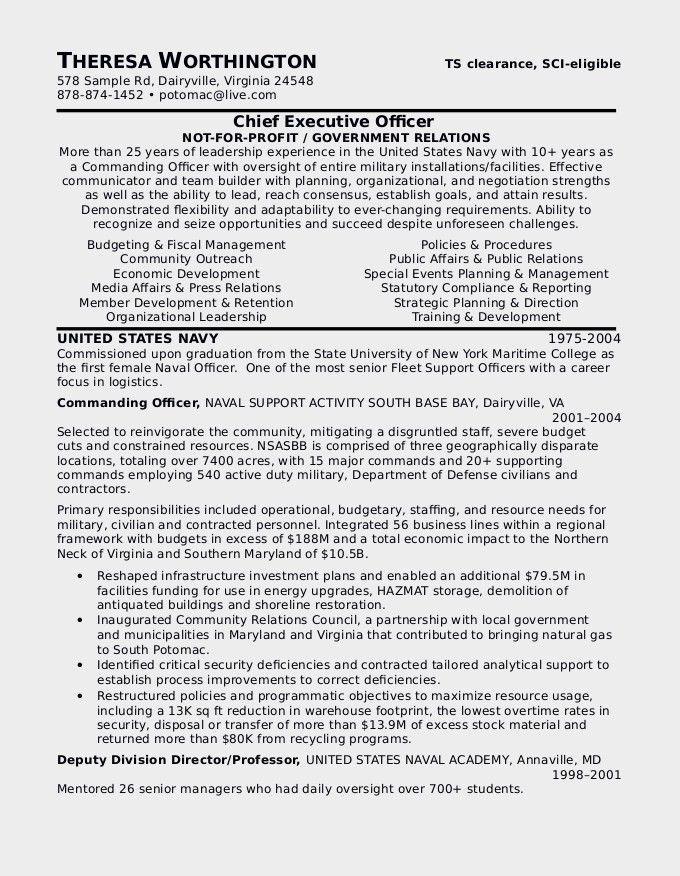 Sample Military Resume Military Resume Example Sample Military - military to civilian resume examples