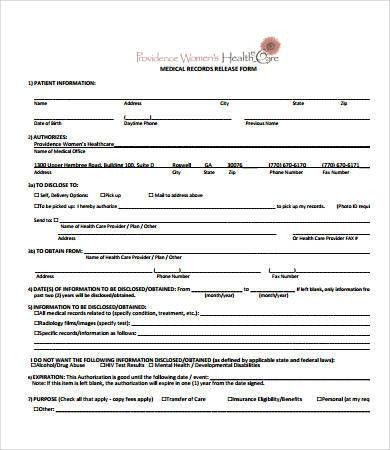 Free Medical Form Templates Sample Medical Authorization Form - medical records release form