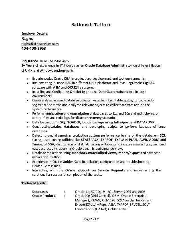 Sample Oracle Dba Resume Dba Resume Example, Oracle Dba Resume - sample database administrator resume
