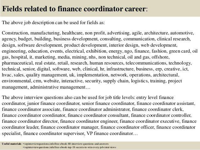 finance coordinator financial coordinator job description top 10 finance director job description