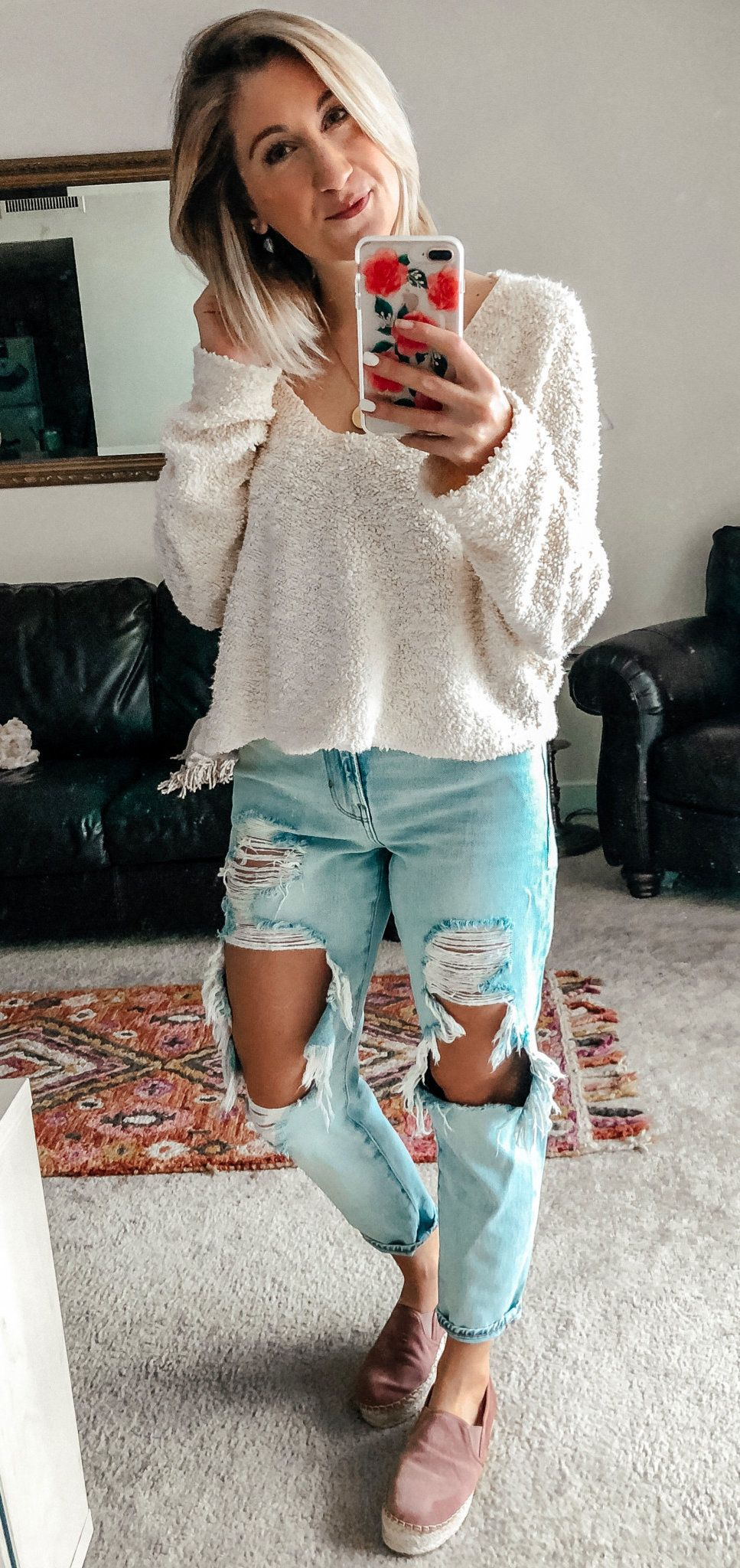 white sweater and distressed blue jeans outfit #spring #outfits