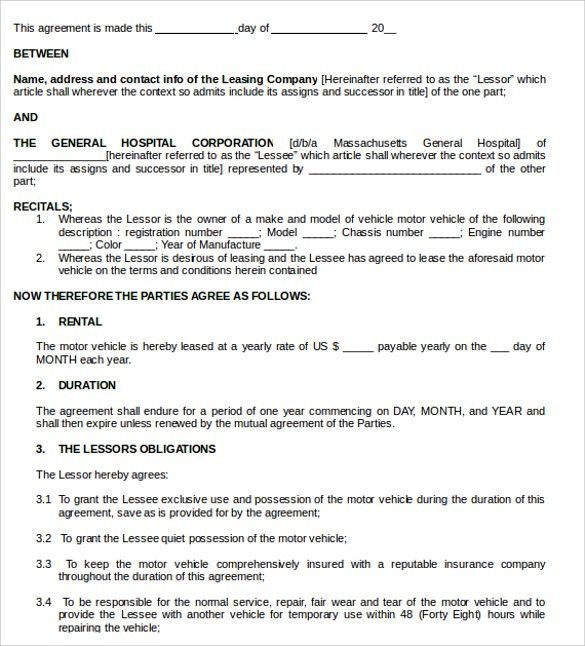 Doc#422541 Vehicle Lease Agreement Templete u2013 Car Lease - equipment lease agreement template