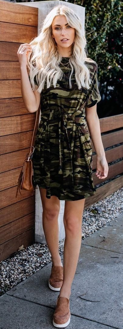 brown, black, and green camouflage mini dress #spring #outfits