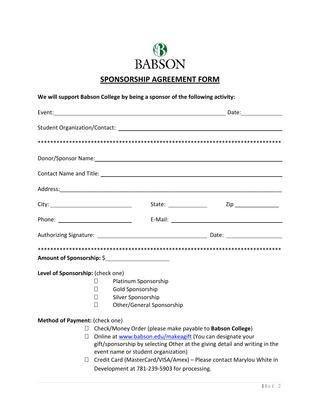 Sponsorship Agreement Form Sponsorship Agreement Template Sample - sponsorship contract template
