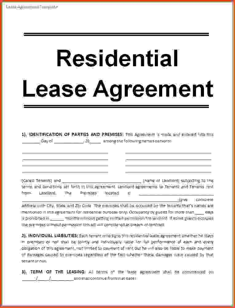 Downloadable Lease Agreement Residential Lease Agreement 8 Free - blank lease agreement example