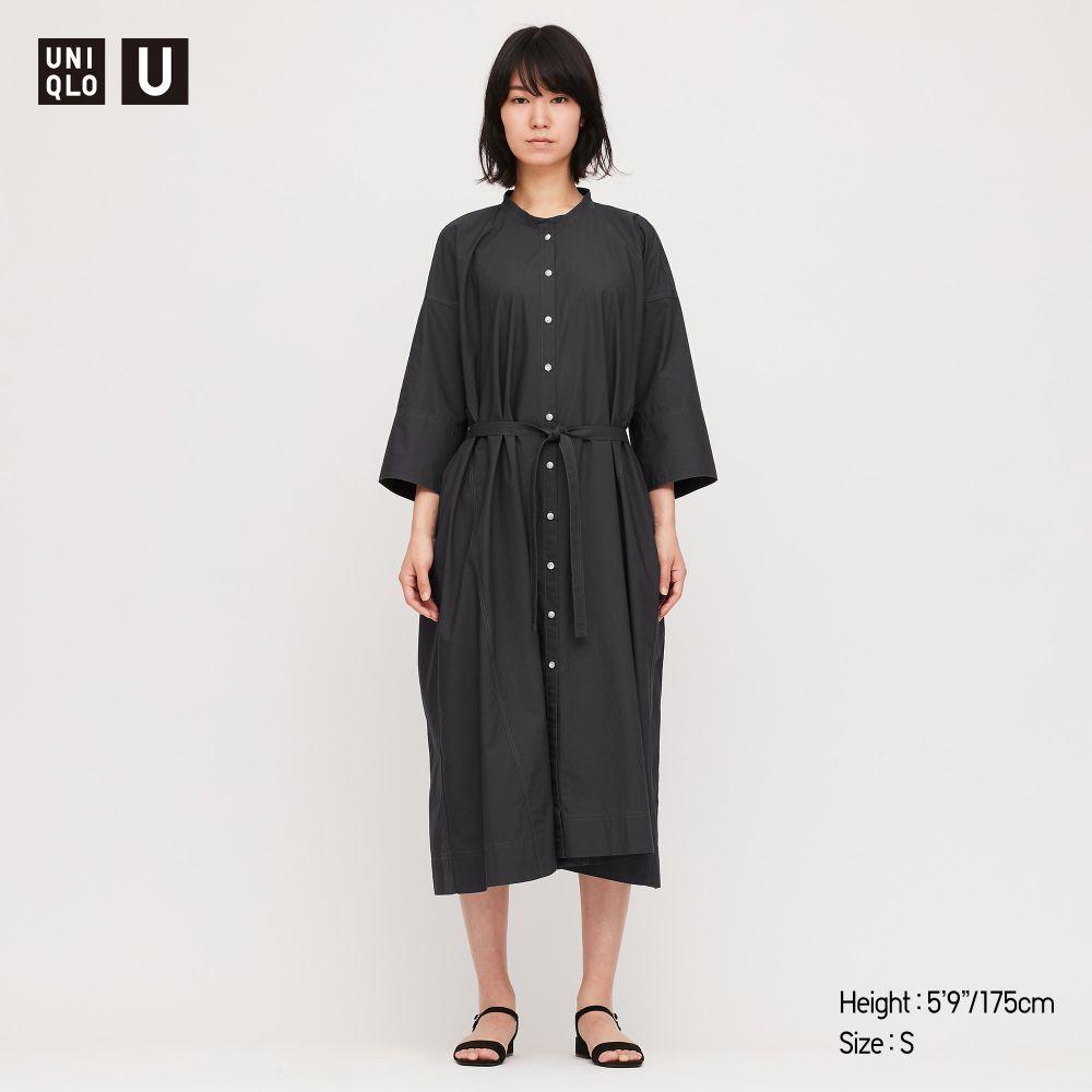 Damen Uniqlo U Hemdkleid mit Stehkragen und 3/4-Ärmeln | UNIQLO