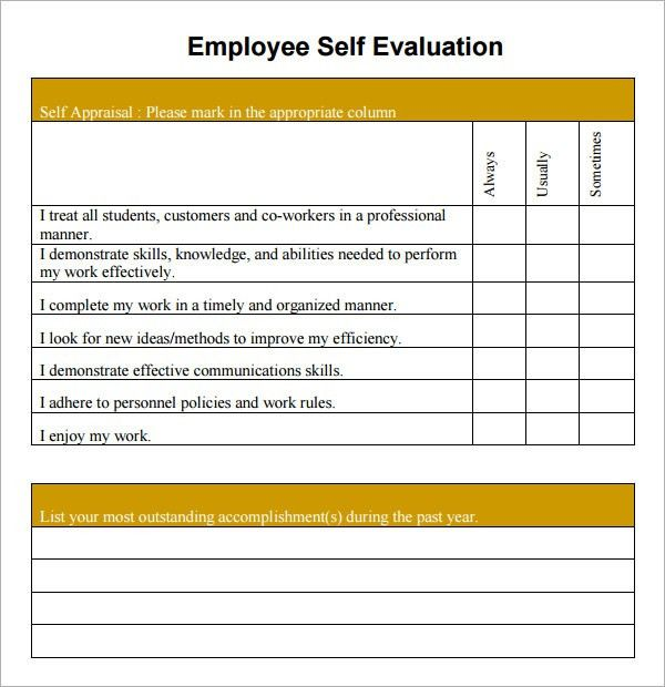 Free Appraisal Forms 8 Hr Appraisal Forms Hr Templates Free - employee self evaluation form