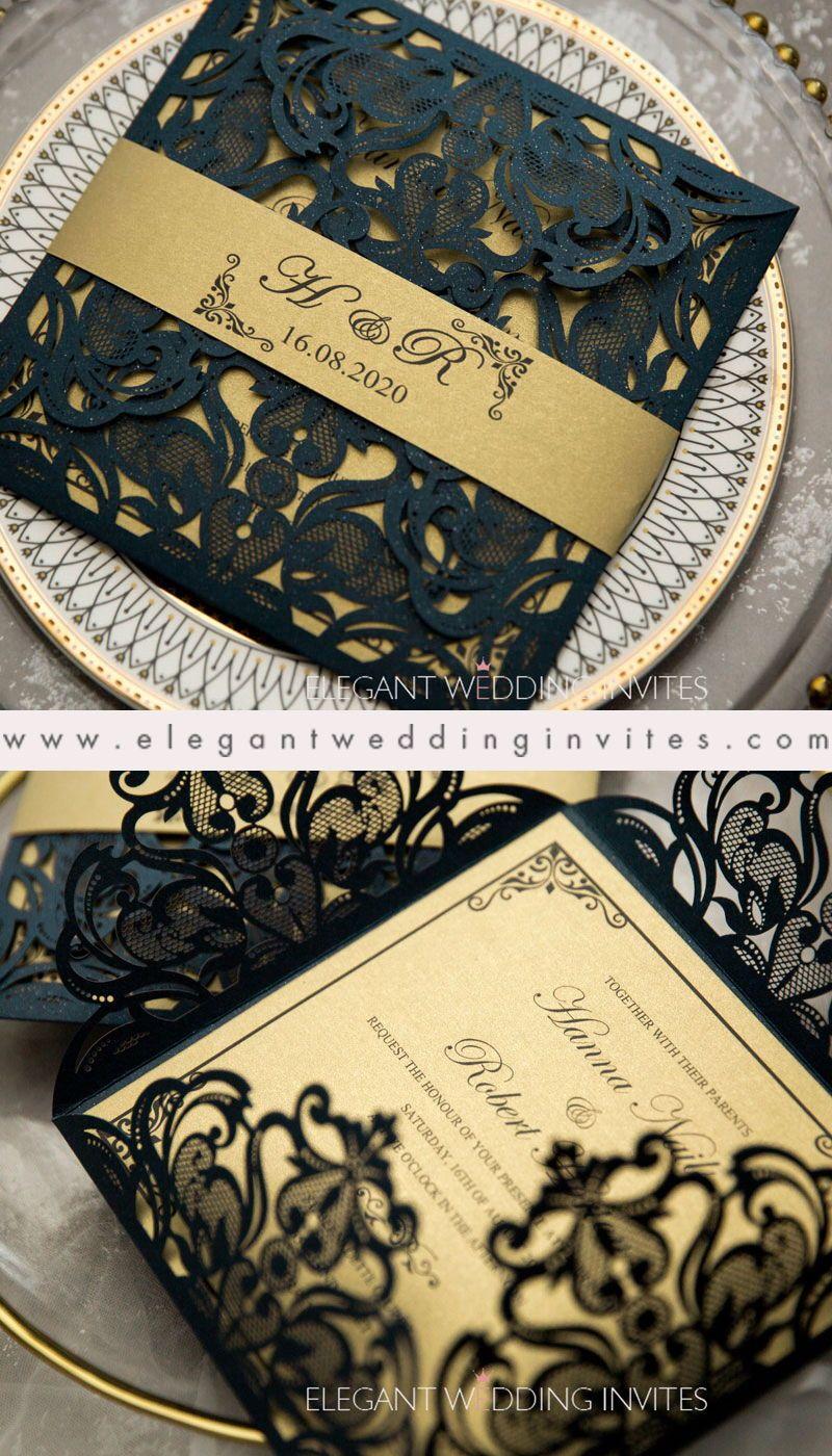 #EWI unique laser cut navy blue wedding invitations with belly band EWTS007