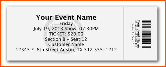 Blank Event Ticket Template Best 20 Ticket Template Ideas On - print your own tickets template free