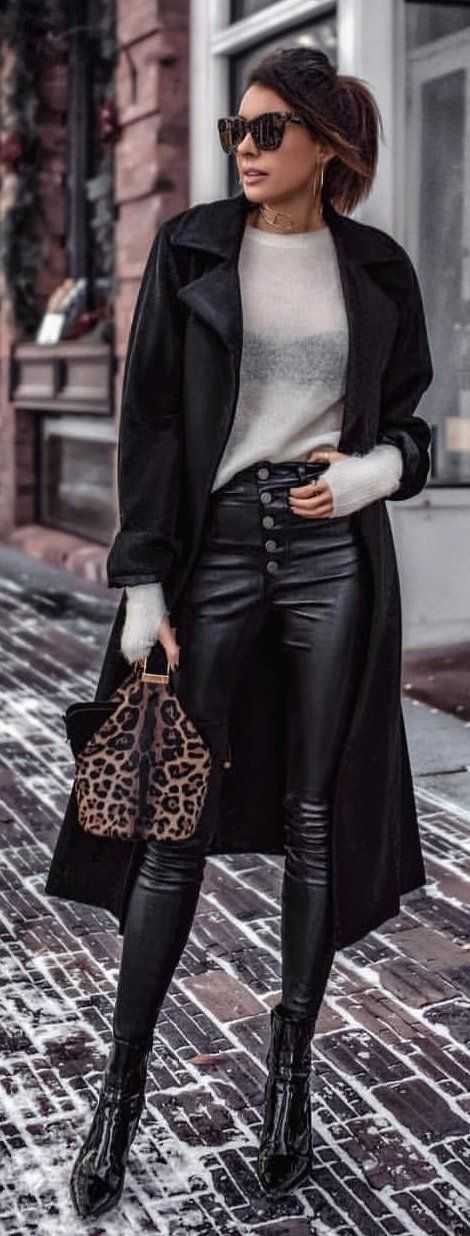 black leather high-waist pants
