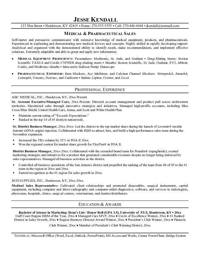 Sample Healthcare Sales Resume Sample Resumes Medical Device - pharmaceutical sales resume example