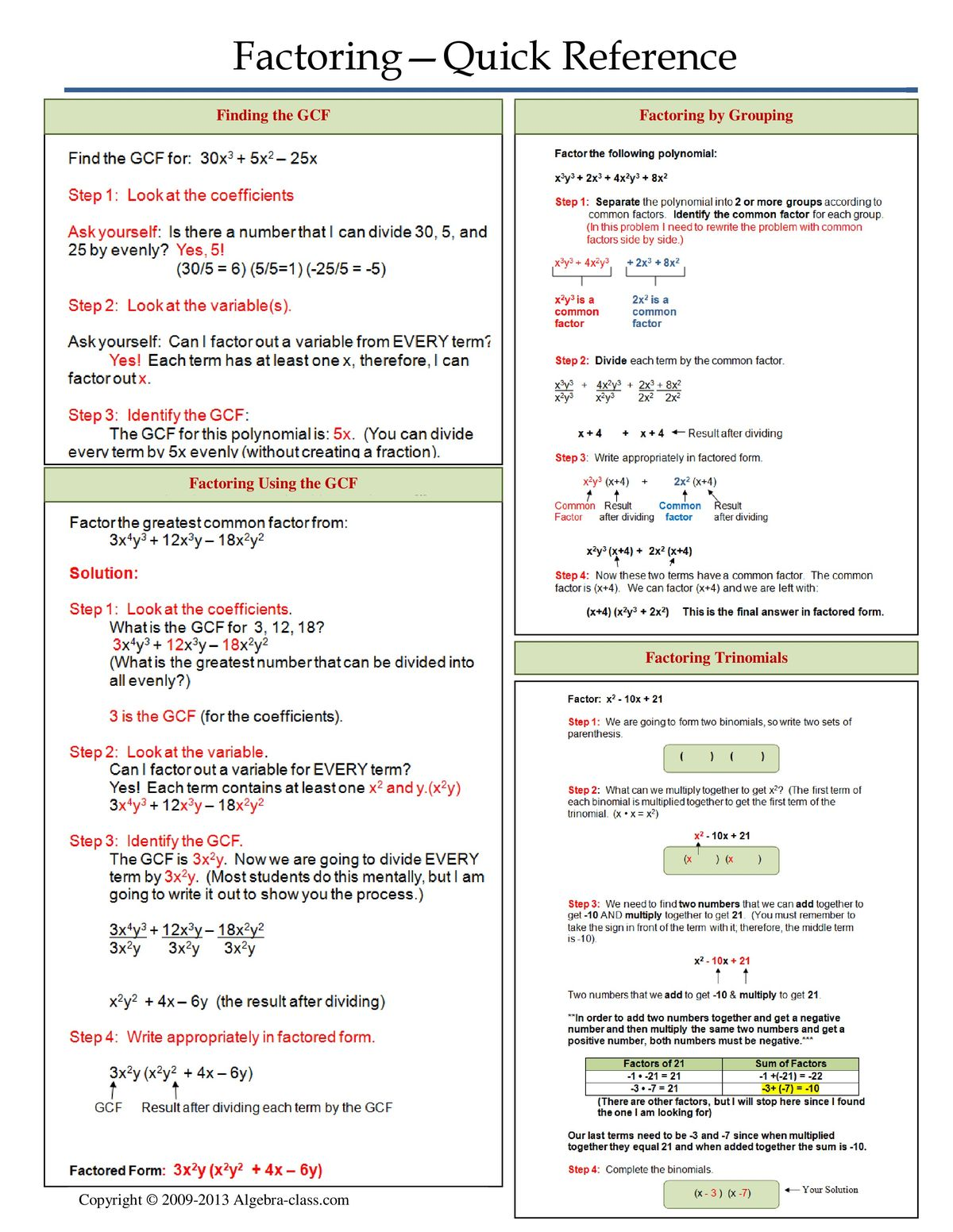 1000+ images about Math/Factoring on Pinterest | Algebra ...