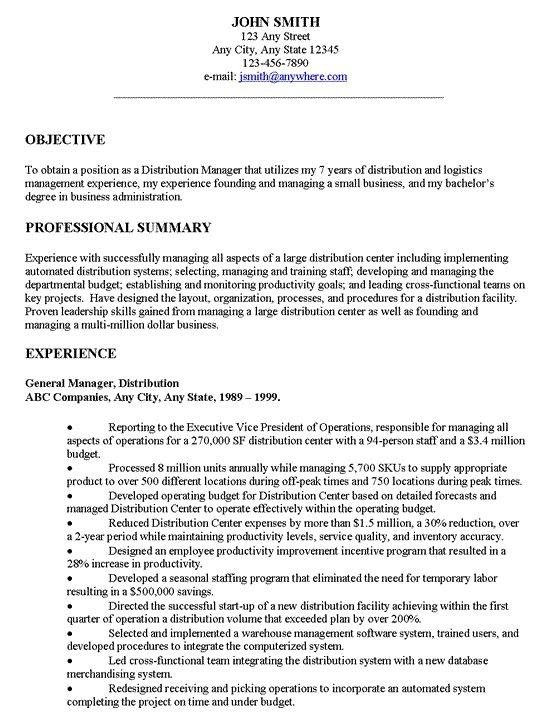 Sample General Resume Career Center General Resume Sample