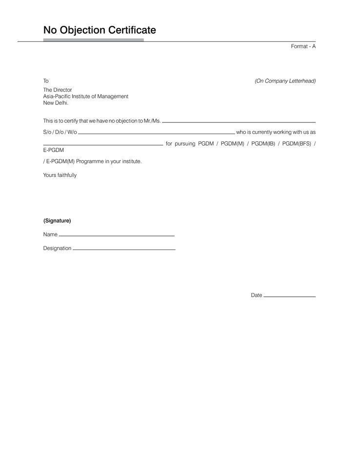 No Objection Letter For Employee No Objection Certificate - no objection format