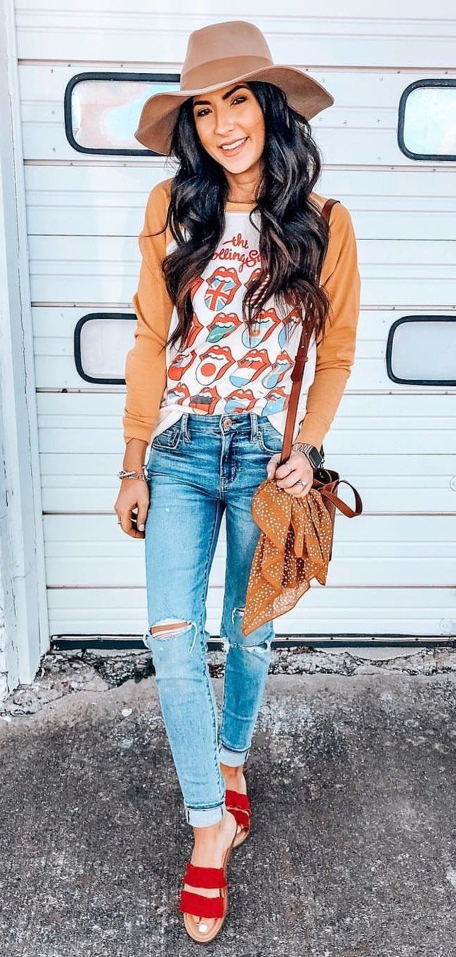 brown sun hat #spring #outfits