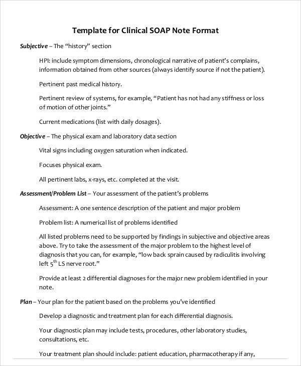 Soap Note Example 40 Fantastic Soap Note Examples Templates - medical note