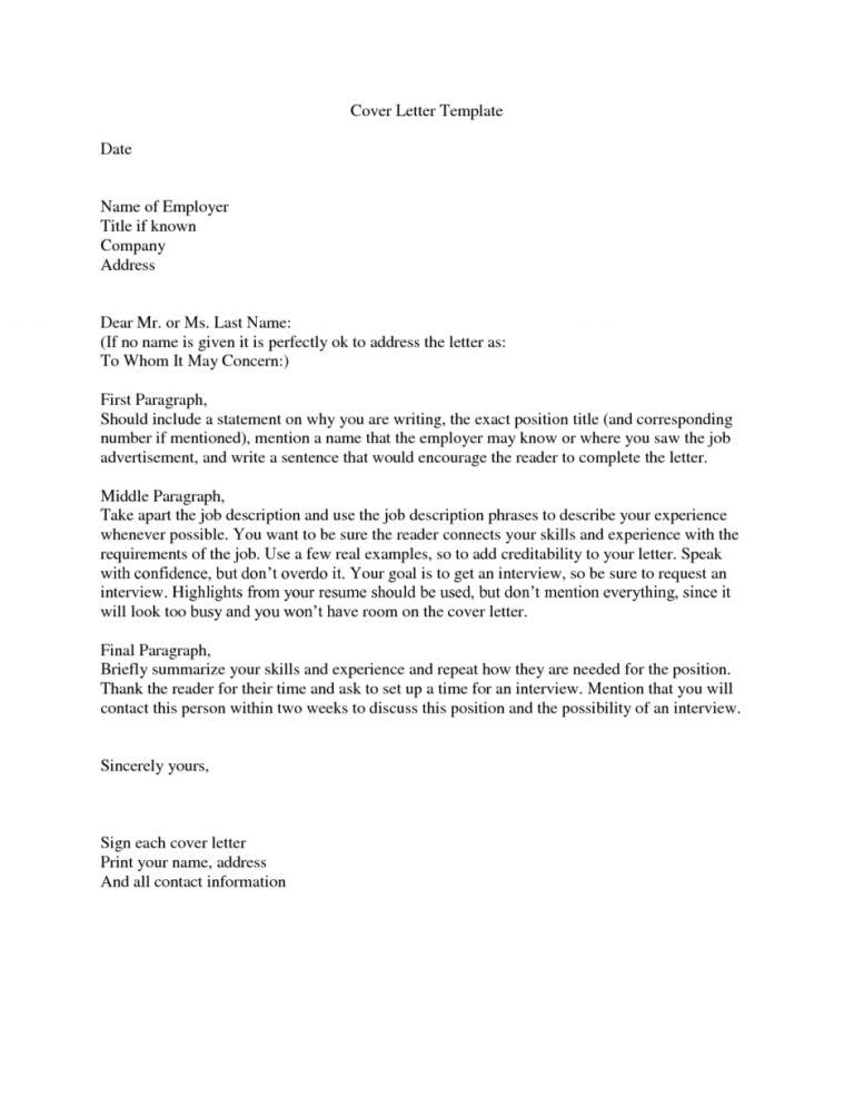 job cover letter to whom it may concern