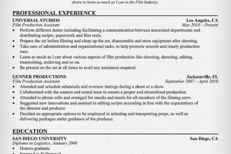 Film Production Assistant Cover Letter Production Assistant Cover - production assistant resume
