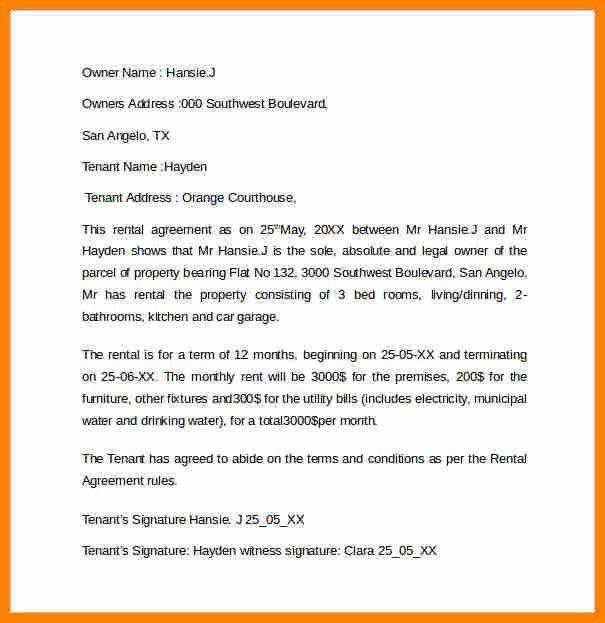 sample rental agreement letter