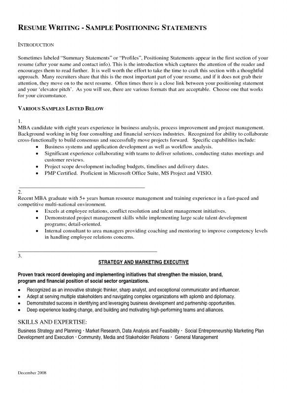 Sample Profile Statements For Resumes Resume Examples Sales