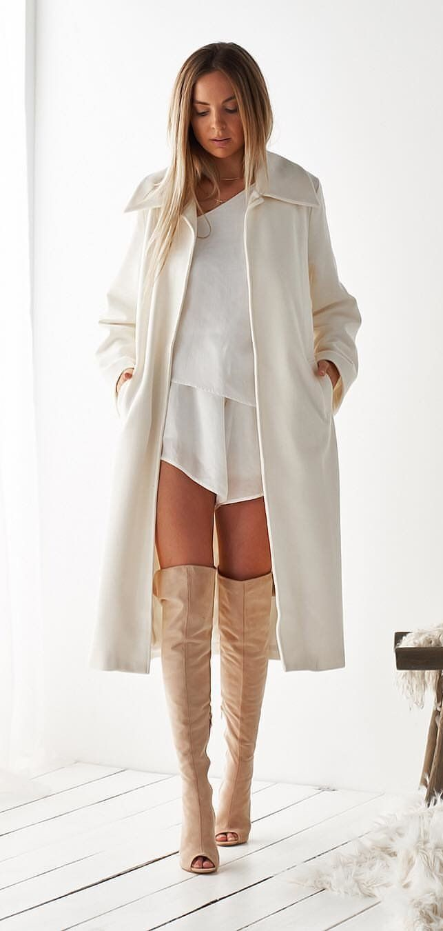 white long coat #spring #outfits