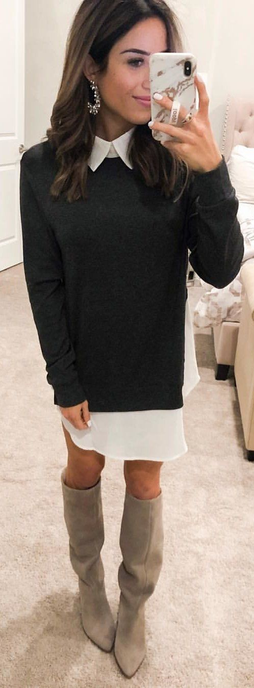 black sweater and white dress.