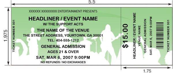 Concert Tickets Template 26 Cool Concert Ticket Template Examples - print your own tickets template free